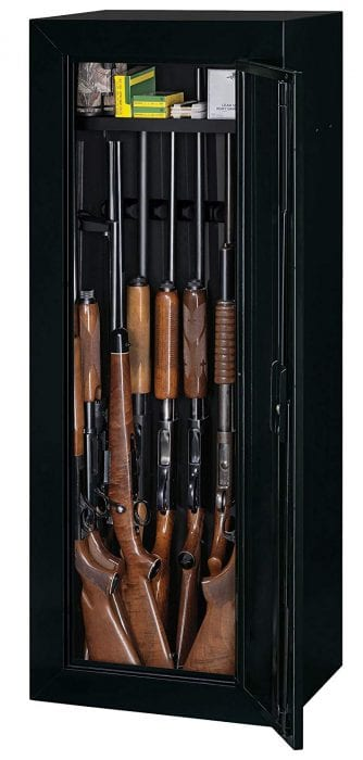 gun cabinet which has upper storage, made from heavy duty material and can fit 6 or more rifles