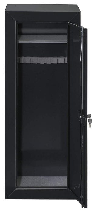 gun cabinet made from heavy duty steel and key lock system