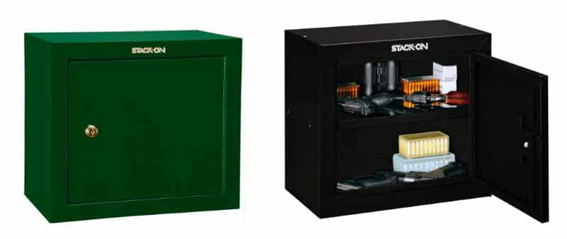 stack-on steel pistol safe or cabinet in black and green