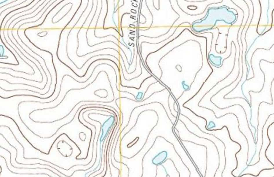 topographic depressions inidcated on map