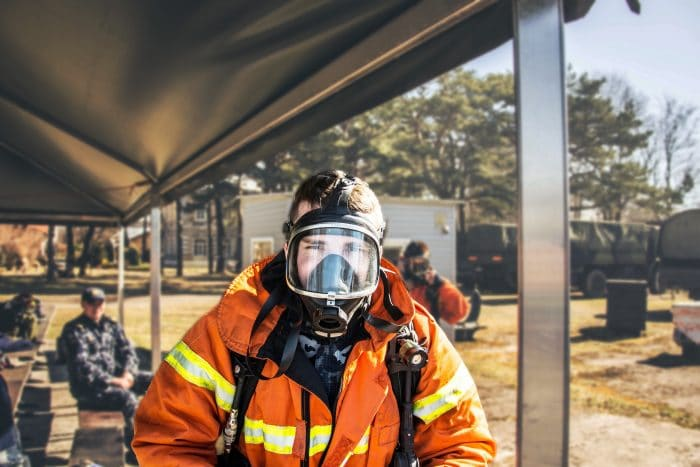 firefighter wearing facemask