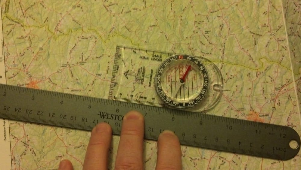 Using a map and compass for navigation