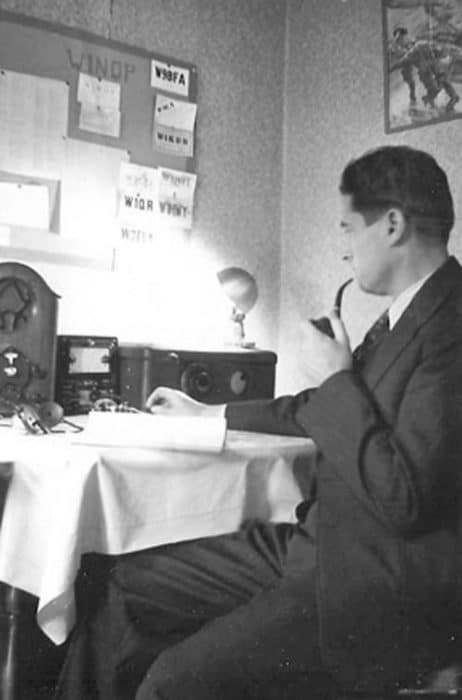 Arlene Clay's husband, Earl, operates the Ham radio. (Submitted photo)