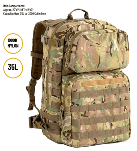 US Military FILBE Assault Pack with Assault Pouch, Army Tactical Rucksack Backpack Multicam