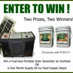 Giveaway: Win a Fuel-Less Generator or 1 Month Food Supply Kit