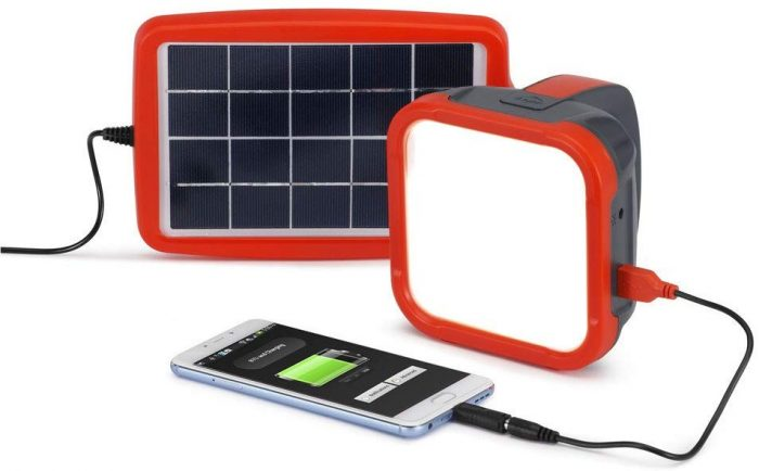 Portable Solar Lantern and Mobile Phone Charger for Camping