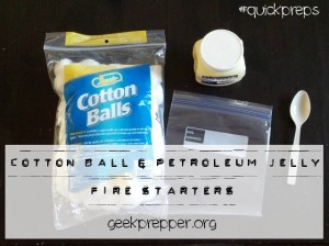 cotton ball petroleum jelly fire starter