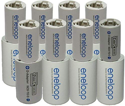 eneloop Spacer Pack- 8 Pack of C-size and 8 Pack of D-size Battery Adapters