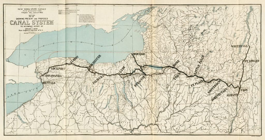 Map showing Present and Proposed Canal System