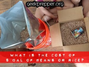 what is the cost of 5 gallons of beans or rice